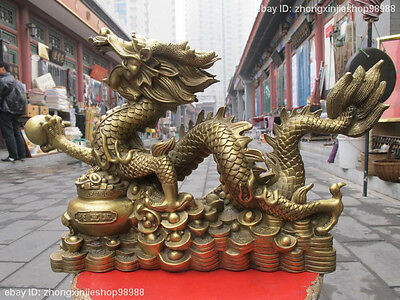Chinese Classic Pure Brass Feng Shui Lucky Money wealth ingot Dragon statue