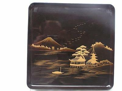 Antique Japanese lacquer tray with landscape 27 x 27 cm 1900-12 #3431B