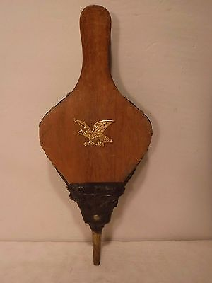Vintage Antique Fireplace Eagle Bellows Hearth Woodstove Tool Wood & Leather