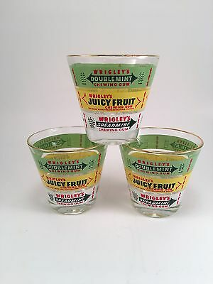 Vintage Wrigley's Chewing Gum Advertising Glass Tumbler w/gold rim, Set Of 3