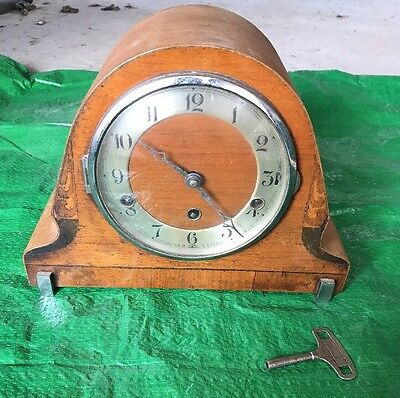 Small  Antique  Old Timepiece  Mantle Clock & Key