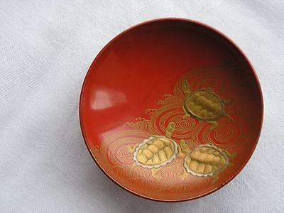 Antique Japanese lacquer sake cup with turtles 1880-1900 handpainted #4186