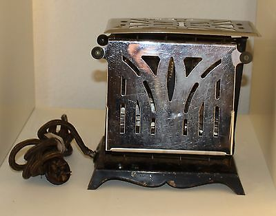 Antique Electrahot Two Drop Side Chrome Electric Toaster Style No. 38 - Works
