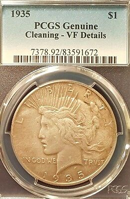 1935 Peace Silver Dollar - PCGS VF Details - Old cleaning but a nice coin!