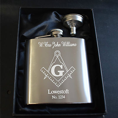 Engraved Masonic Square & Compass 6Oz Stainless Steel Hip Flask Gift Box Funnel