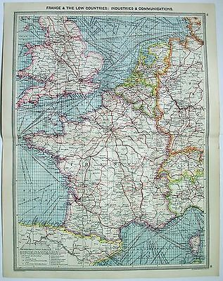 Original Map of France & the Low Countries: Industries & Communication c1906