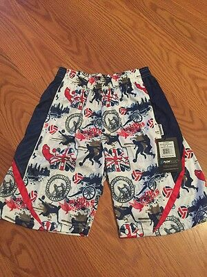 FLOW SOCIETY LACROSSE Soccer Shorts Arsenal Red White Blue  NWT Medium