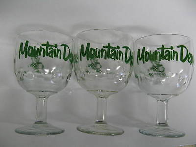 Mountain Dew  3 glass goblets - green graphics It'll Tickle Yore Innards
