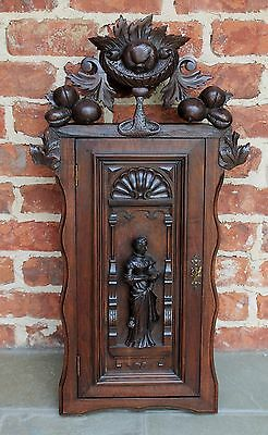 Antique French Renaissance Revival Style Oak Hanging Wall Key Cabinet Medicine