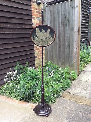 Antique Mahogany Pole Fire Screen With Chicken Needlepoint