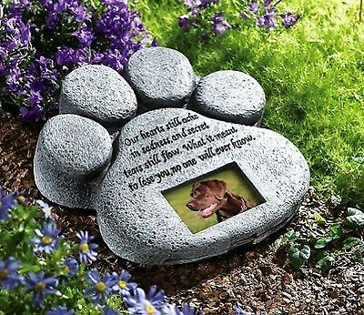 Pet Dog Cat Grave Memorial Stone Marker Paw Print Headstone Plaque Picture Yard