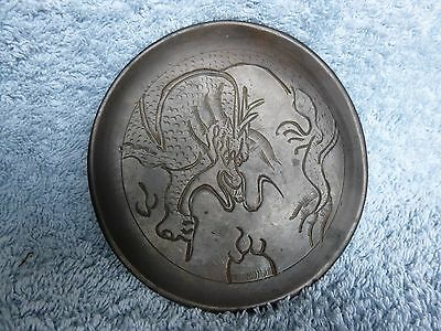 Vintage Bronze dish / plate with etched dragon decoration