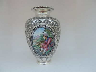 Museum  Persian Isfahan Islamic Silver & Enamel Vase Masterly H-Chased & Painted