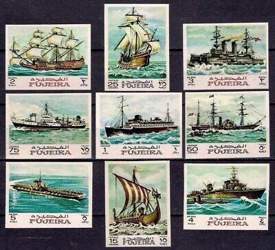 Fujeira 1968 Ships Aircraft Carrier Boats Transport War Sailing Imperf MNH(3)