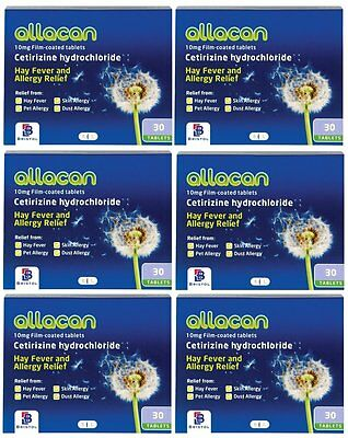Allacan Cetirizine 10mg Hayfever and Allergy Relief 10mg  30'S 1 ,3 OR 6 PACKS