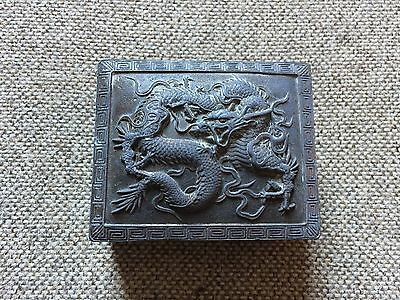 Japanese Antique Copper Dragon Box Wood Lined