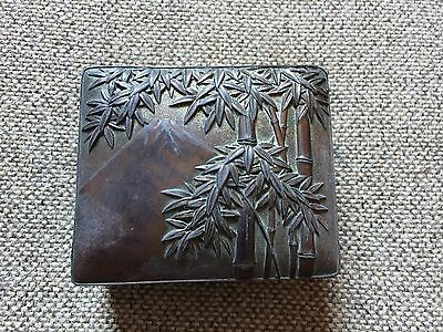 Japanese Antique Copper Bamboo Box Metal Lined