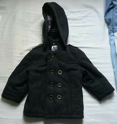 Boys Charcoal Dark Grey Mothercare coat 18-24 months very good condition