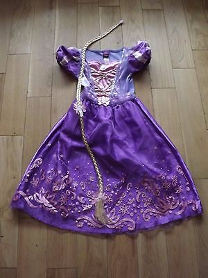 DISNEY & GEORGE rapunzel tangled fancy dress costume WITH HAIR EXTENSION 5-6Y
