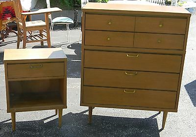 Vintage Mid Century Modern Tapered Leg Dresser & Nightstand Set Formica Top