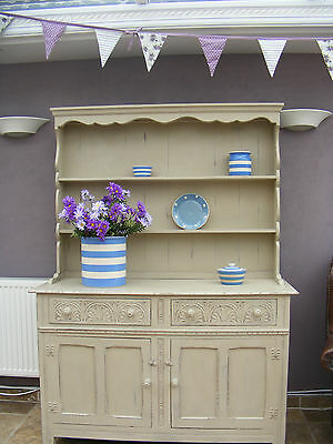 ♡ Vintage Farmhouse Shabby Chic Solid Oak Antique style Kitchen dresser ♡