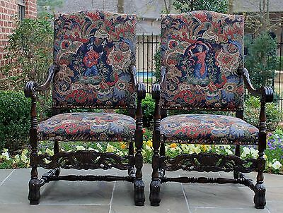 Antique French Walnut PAIR Throne Fireside Chairs Tapestry Needlepoint Fauteuils