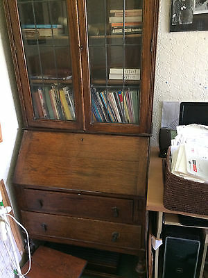 Antique Bureau/Writing Desk/Bookcase. Dark wood, glass doors