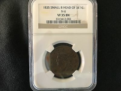1835 CORONET LARGE CENT - small 8 head of 34 - N 6  NGC - VF 35 BN