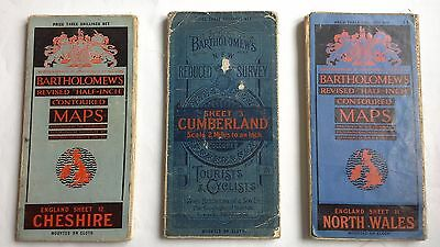 3 Bartholomews Vintage maps from 1920's - Cumberland, North Wales and Cheshire