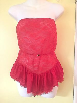 VIntage 1980s RED LACE Pin Up NYLON ONE PIECE Teddy Romper Nightie-L