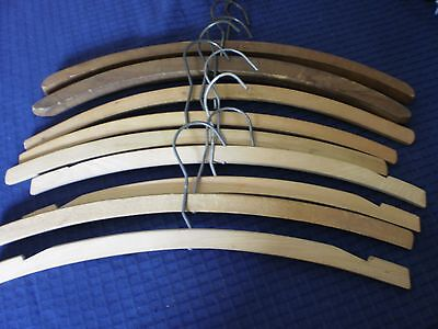 Lot Of 9 Vintage Wooden Clothes Hangers, Some Notched