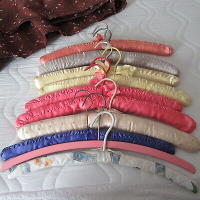 Vtg Satin Padded Quilted pink painted wood Coat Clothes Hanger lot