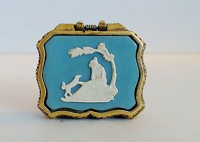 Max Factor Solid Perfume Compact Cameo Wishing Tree Dog Blue Jasper Full EUC