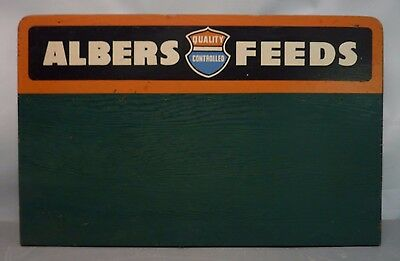 """Vtg 24"""" ALBERS FEEDS Old Feed Store Wood Display Sign Farm Ranch Advertising"""