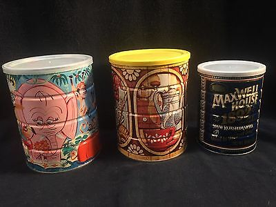 Vintage Folgers Coffee Co Tin Coffee Can Jungle Animals 1892 lot
