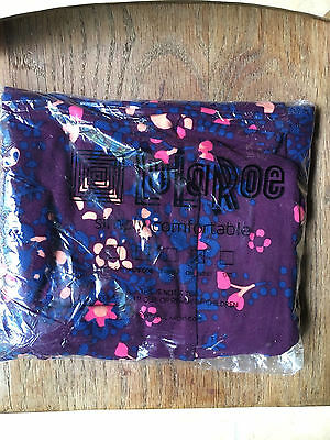 New With Tags Lularoe One Size OS Purple Leggings Navy Blue Peach Coral Flowers