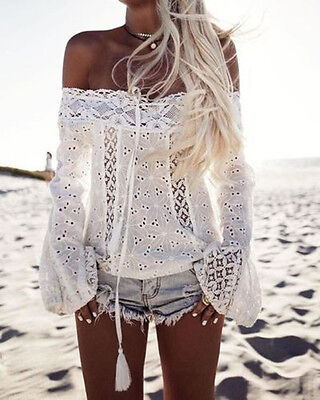 US Womens Floral Off Shoulder Loose Beach Ladies Casual T Shirt Tops Blouse Top