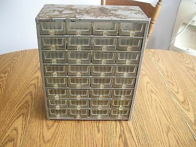 vintage metal and plastic drawer parts cabinet storage bin old school 32 drawers