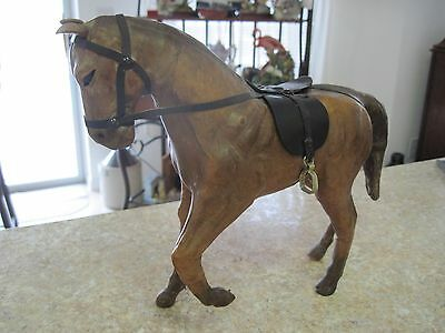 Vintage Leather Wrapped Horse Figurine/Sculpture/Statue~Brown~Saddle~Glass Eyes