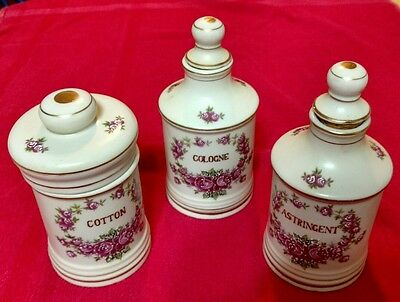 MATCHING SET of Hand Painted BISQUE? Porcelain Apothecary Jars (3) VINTAGE