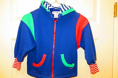 GYMBOREE VINTAGE childs medium HOODIE SWEATSHIRT zipper navy red green
