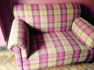 Edwardian drop arm  2 seater sofa - reupholstered in Sanderson Plaid Fabric