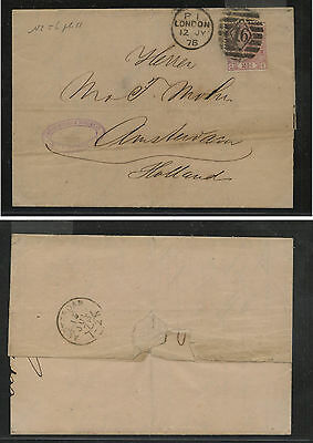 Great  Britain  67 pl 11 on folded letter   to  Holland 1876          KEL0703