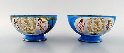 Sevres, Chateau des Tuileries, France, a pair of bowls in Sevres-blue