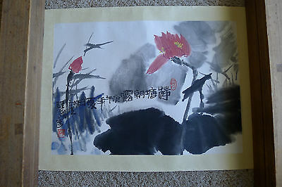 Lovely colorful signed Chinese painting on paper