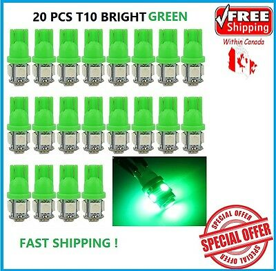20 X GREEN T10 5050 LED Wedge Car 5 SMD Light Bulb W5W 194 168 2825 158 192