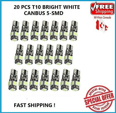 20 XT10 WHITE CANBUS 5050 LED Wedge Car 5 SMD Light Bulb W5W 194 168 2825 192