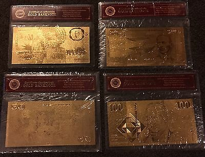 Clearance Sale Australian $10 $20 $50 $100 Bank Note 24k GOLD 99.9 Poly Banknote