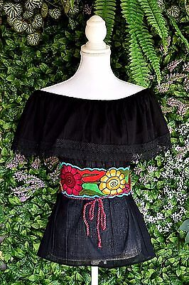 Black Campesina/peasant Mexican Blouse Size Small/medium/onesize Off Shoulder