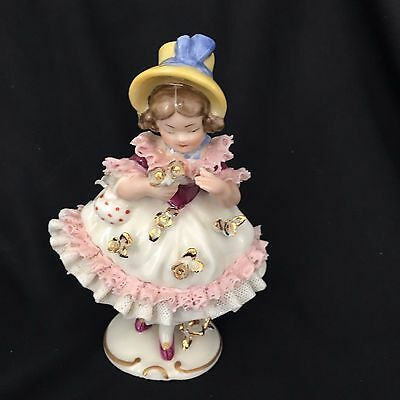 """ANTIQUE DRESDEN Lace FRANKENTHAL Germany PORCELAIN GIRL WITH FLOWERS FIGURINE 6"""""""